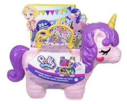 Polly Pocket Unicorn Party Large Compact Playset Micro Polly 25+ Surprises - $49.99