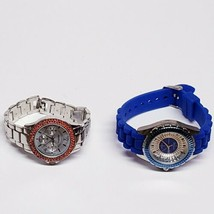 2 Geneva Platinum Watch Lot Chronograph Women's Silicone & Stainless Steel Bands - $24.64