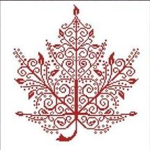 Maple Leaf cross stitch chart monochrome AAN Alessandra Adelaide Needleworks - $16.20