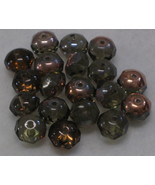 Vintage 9mm Rondelle Smoky Topaz Glass Beads 18 - $3.25