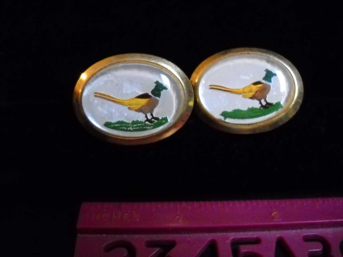 Cuff links pheasant hand painted ovals 01