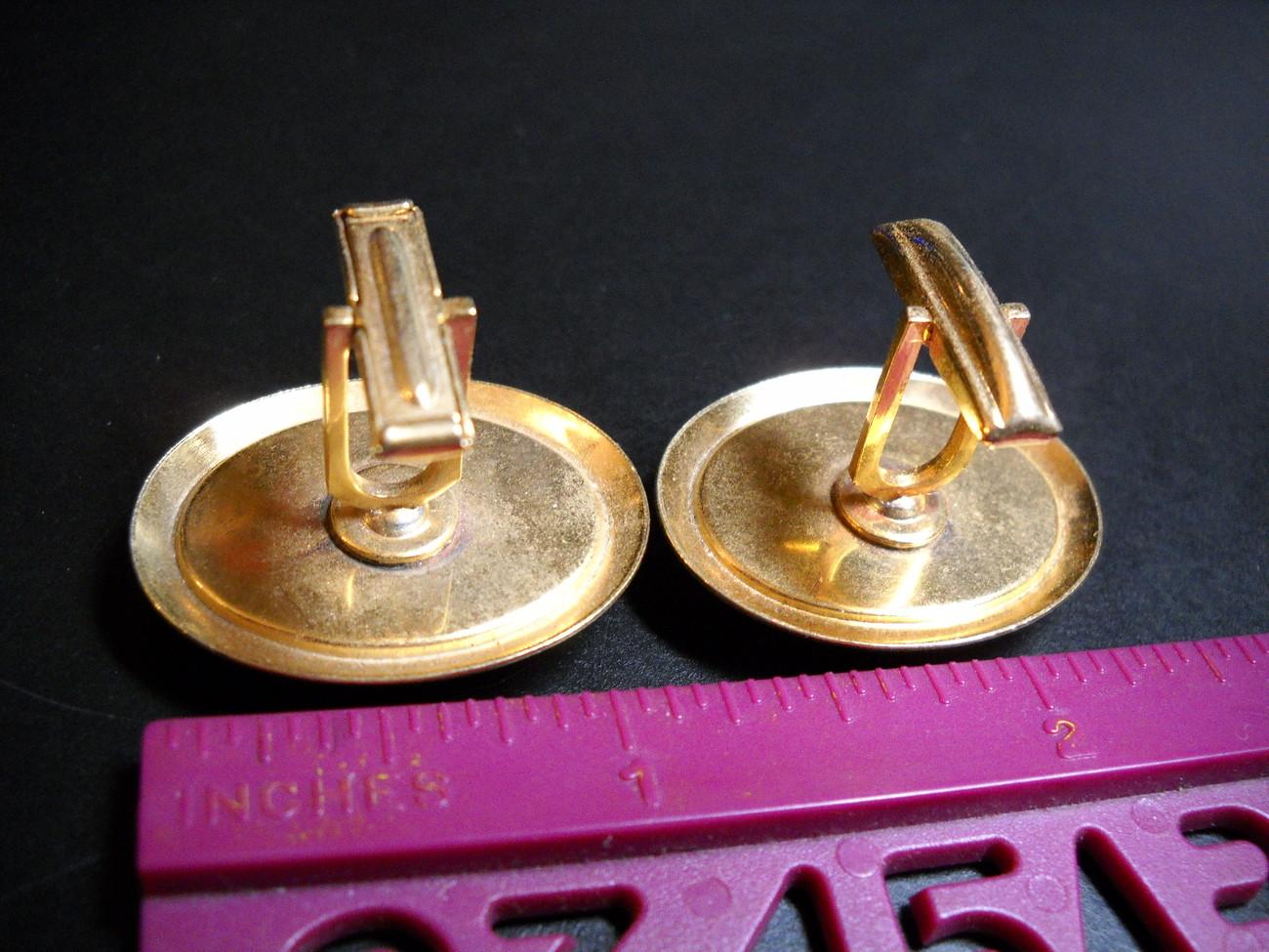 Cuff Links Hand Painted Pheasants under Glass Golden Ovals No Presentation Box