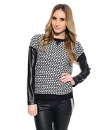 Women's Faux leather sleeve knitted crew neck sweater  - $15.99