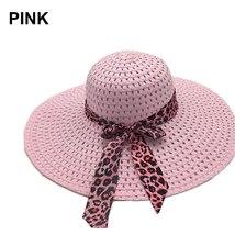 NEW 2019 Bowknot Flat Straw Beach Hat Women Floppy Fashion Lady Fold Wide Brim D image 6