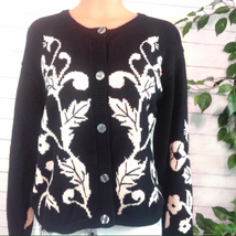 J.G. Hook Ladies Women's Vintage Black & White Floral Cardigan Sweater L... - $29.00
