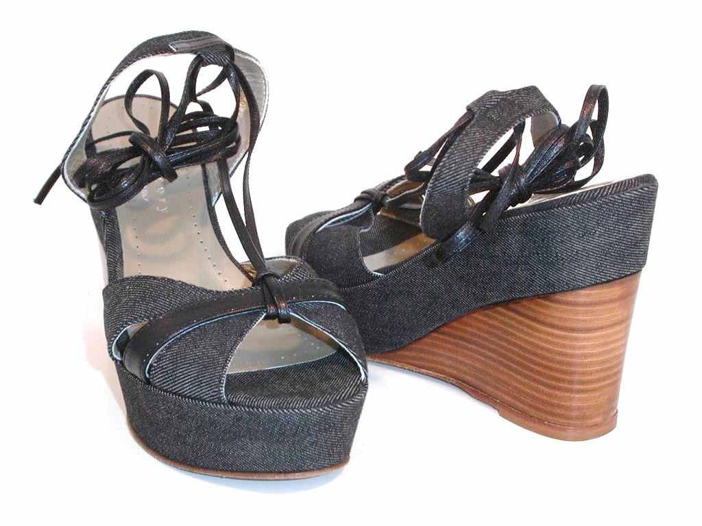 Theory Womens Denim Kana Wedge Platform Sandals Shoes Size 9 Theory