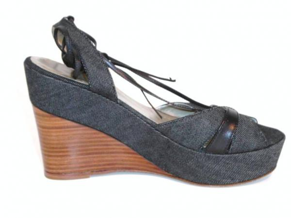 Theory Womens Denim Kana Wedge Platform Sandals Shoes Size 9