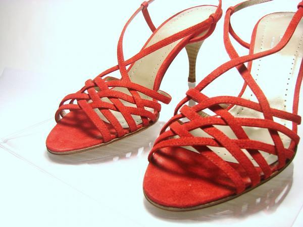 Womens Shoes THEORY ANGELINA Red Suede Strappy Sandals SHOES 7 NEW