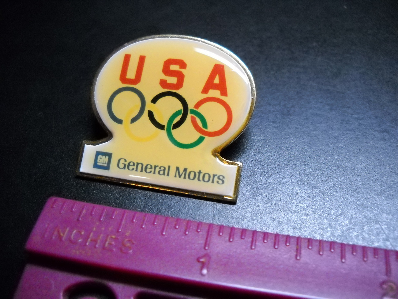 USA Olympic Pin GM General Motors About 1 1/4 x 1 Inch Pin Made in USA