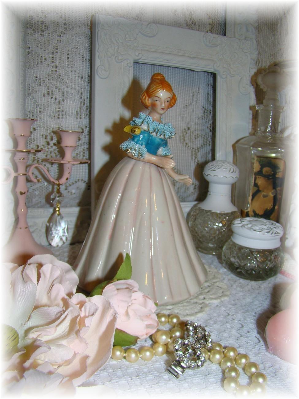 Shabby n' Chic Vintage Victorian Lady w/Bird Figurine