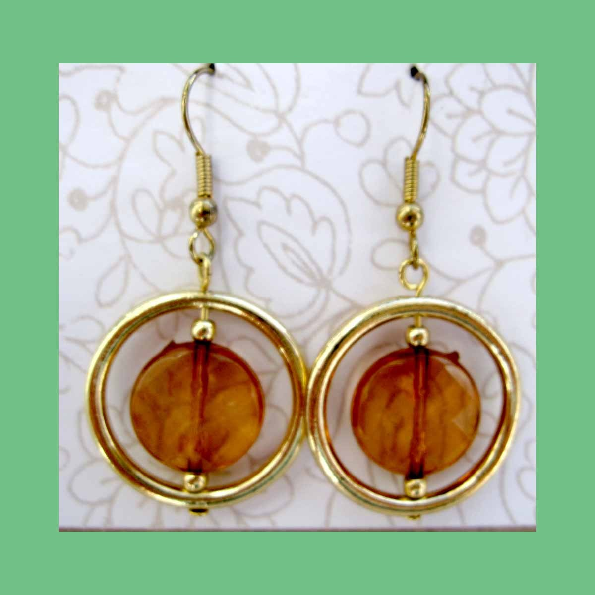 Fashion earrings round brown with gold circle