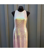 Adrianna Papell Evening Dress Full Length Sequin Mermaid Pink Color Size... - $187.11