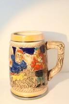 BEER STEIN TANKARD Vintage Ceramic Pottery Man Woman Dog Tree House German? - $14.80