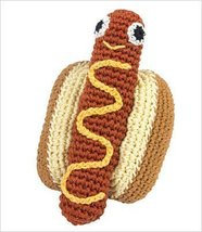 Knit Knacks Organic Crocheted Dog Teeth Cleaning Toy - Hottie Hot Dog - $14.99