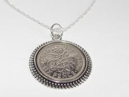 Cercle Pendentif 1957 Sixpence PORTE-BONHEUR 60TH Anniversaire + 22in - $21.89