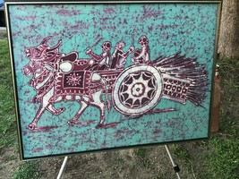 VINTAGE INDONESIAN BATIK Original MidCentury Modern Fabric Painting Ox C... - $790.00