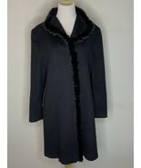 Fleurette Loro Piana Womens Wool Mink Fur Trim Coat Jacket Black Sz 12 - $296.96