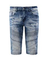 Men's Distressed Denim Faded Wash Slim Fit Moto Quilt Skinny Jean Shorts image 14