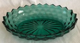 Oval Serving Vegetable Bowl Whitehall Indiana Glass Cubed Teal  Blue Gre... - $17.81