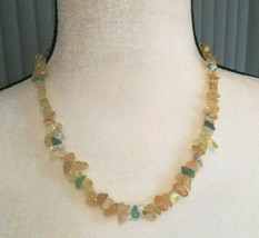 Necklace with Citrine, Aventurine and Clear Quartz Crystals Gemstones, G... - $33.66