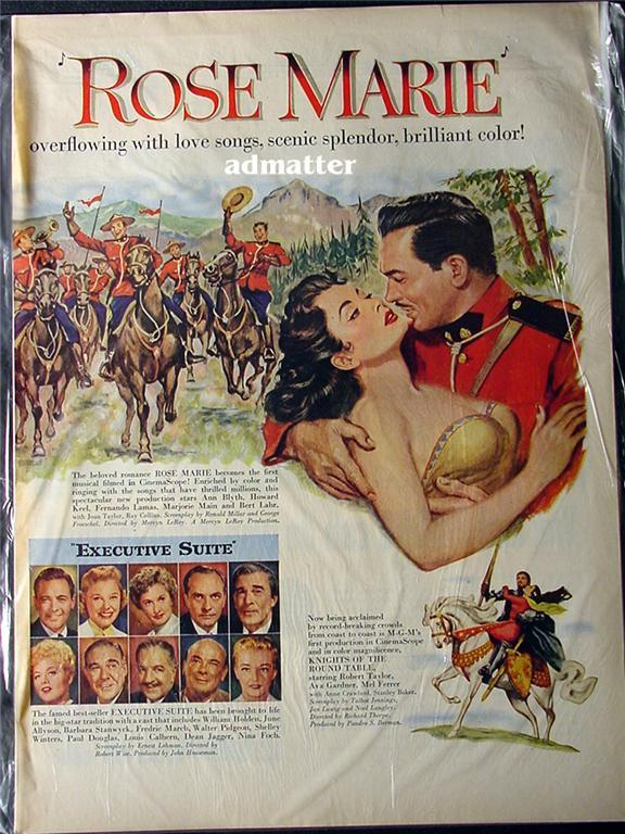 1954 Rose Marie Movie Ad Ann Blyth & Howard Keel