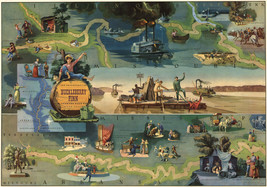 """LARGE 23""""x33"""" Map of The Adventures of Huckleberry Finn Mark Twain Wall Poster - $26.24"""