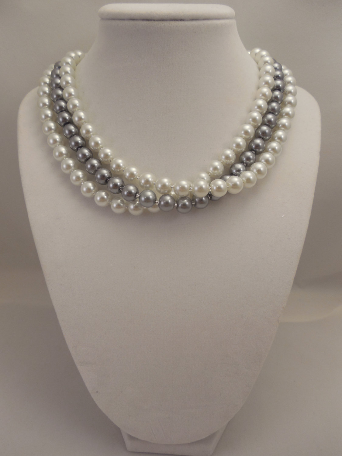 Primary image for Elegant, Three Strand, Half Twisted Necklace with 8mm White & Gray Glass Pearls