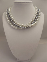 Elegant, Three Strand, Half Twisted Necklace with 8mm White & Gray Glass... - $43.00