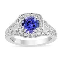 Tanzanite and Diamond Halo Engagement Ring, 14K White Gold 1.71 Carat Ha... - $2,399.00