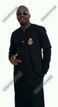 Odeneho Wear Men's Black Polished Cotton Jalabiya Top/Bottom  African Clothing. - $123.75+