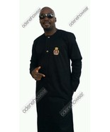 Odeneho Wear Men's Black Polished Cotton Jalabiya Top/Bottom  African Cl... - $123.75+