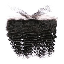 Pre Plucked Deep Wave Black Lace Frontal Closure, Brazilian Remy Hair Ea... - $39.03