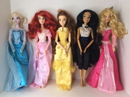 Disney Store Princess 17in Singing Dolls Lot Ariel Belle Elsa Jasmine Au... - $201.95