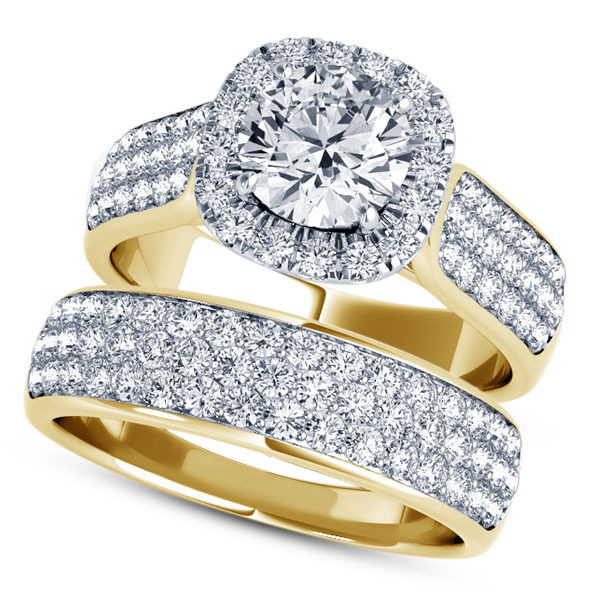 14k Yellow Gold Plated 925 Silver Round Cut White CZ Bridal Engagement Ring Set
