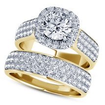 14k Yellow Gold Plated 925 Silver Round Cut White CZ Bridal Engagement Ring Set - $118.60