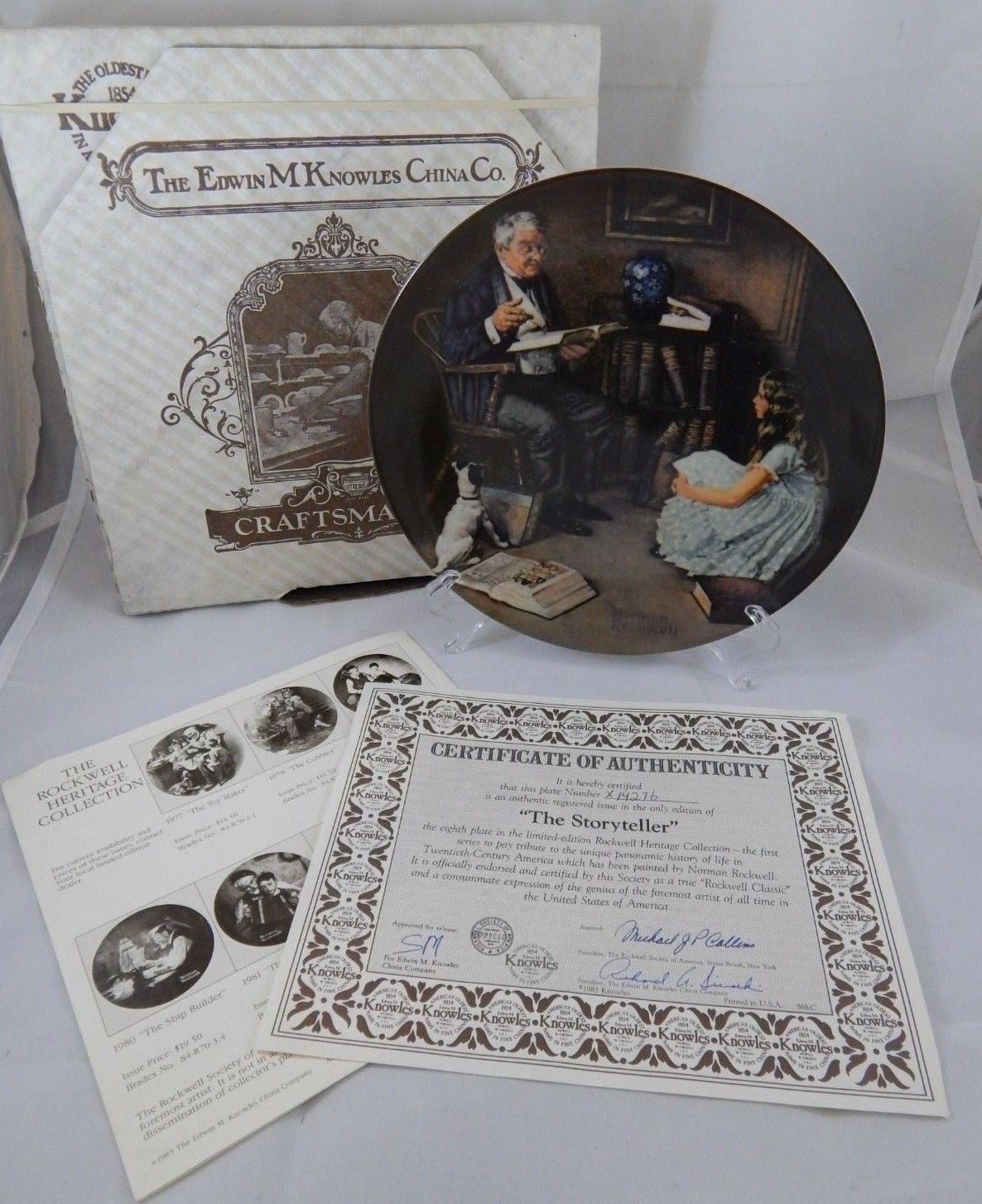 1984 Knowles THE STORYTELLER Norman ROCKWELL HERITAGE Grandpa Collector Plate