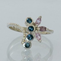 Pink Sapphire and London Blue Topaz Handmade Sterling Silver Ladies Ring size 7 - £83.83 GBP