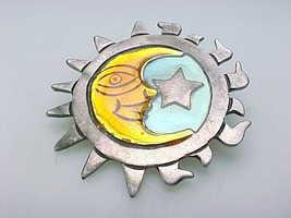 MOON & STAR ENAMEL BROOCH Pin in STERLING SILVER - 11.2 grams - FREE SHI... - $65.00
