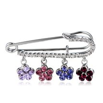 Xinguang Four Plum Blossoms Pattern Crystals Inlaid Brooch - $24.85