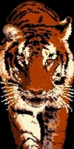 Latch Hook Rug Pattern Chart: Prowling Tiger - EMAIL2u - $5.75