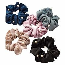 5 Pcs Satin Hair Scrunchies Beads Hair Band Ponytail Holder Elastics Hair Ties