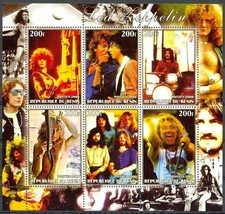 Souvenir Sheet 6 Led Zeppelin 200f Stamps from Africa! Jimmy Page Robert... - $9.89
