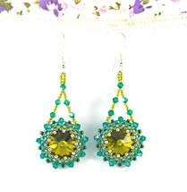 Crystal Swarovski Green Royal Earings Green Whirl Silver Ear Hook Drop E... - $18.00