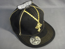 Black And Gold Color Flex Fit Cross Theme Wide Brim Baseball Cap New - $7.50