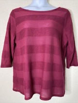 St. John's Bay Womens Plus Size 1X Fusha Solid Striped Blouse 3/4 Sleeve - $13.53