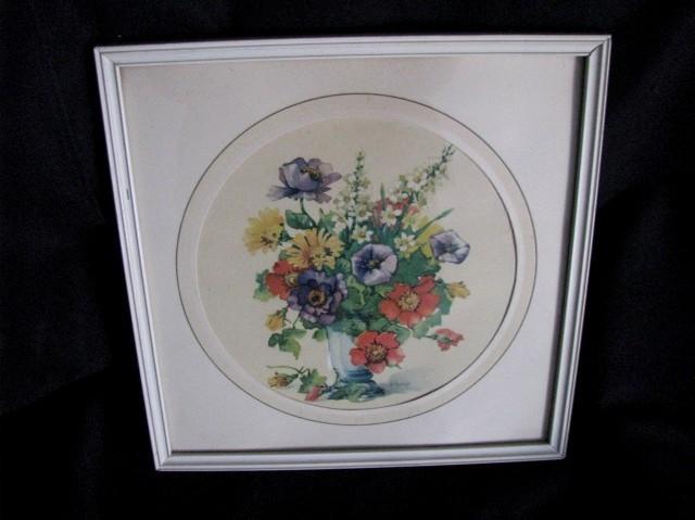 Vintage Botanical Print Framed in White Wood Frame Flowers