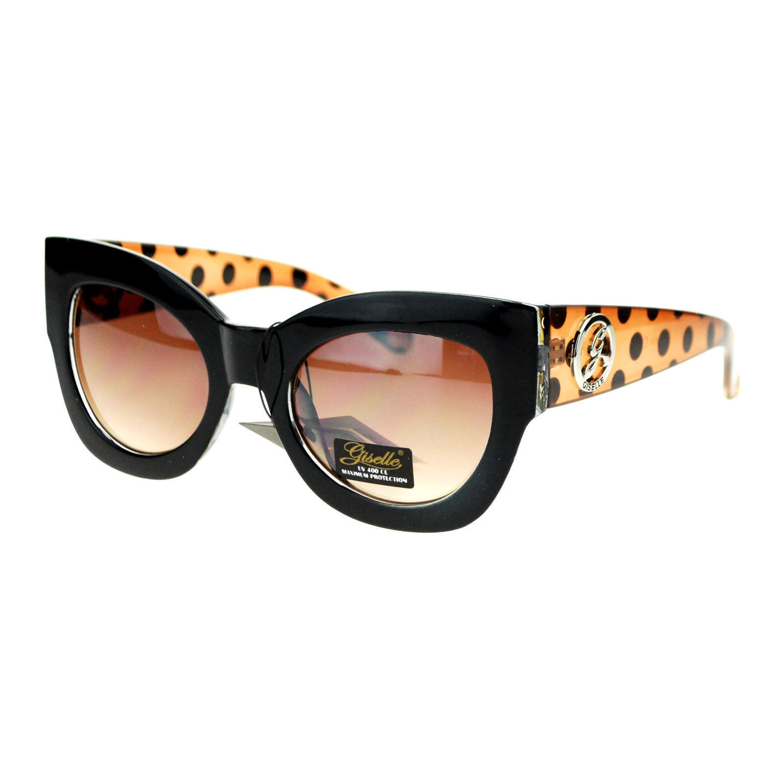 Giselle Lunettes Women's Sunglasses Polka Dots Round Butterfly Frame