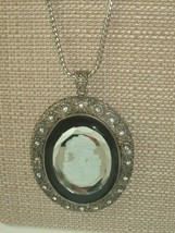VTG Necklace Cameo Reverse Cut Glass Statement Rhinestone Pendant steampunk - $29.69