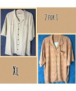 Lot 2 - Tommy Bahama 100% Silk Men's Size XL Yellow Striped And Orange T... - $29.70
