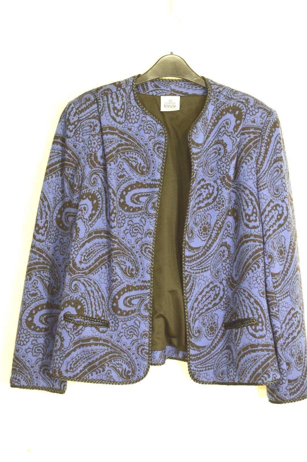 Bleyle jacket vintage M? wool blue black paisley print cropped career lined USA